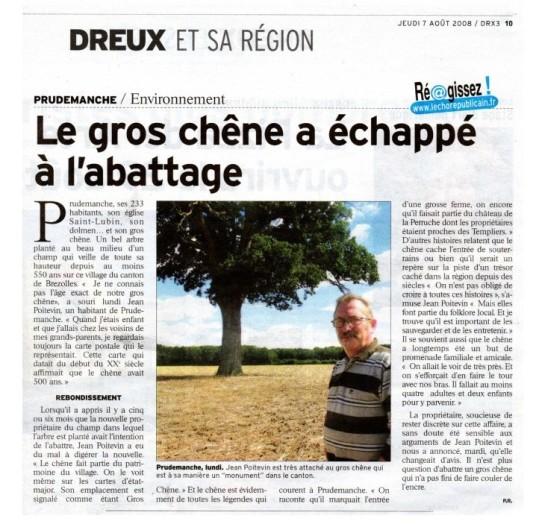 Article de presse 7 août 2008 - chêne de prudemanche