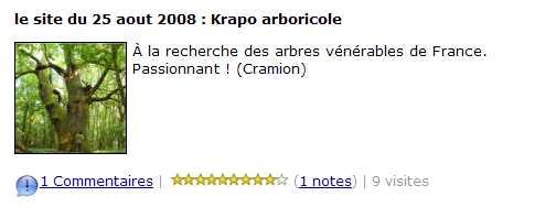 Le site du jour - le site du 25 aout 2008 - Krapo arboricole