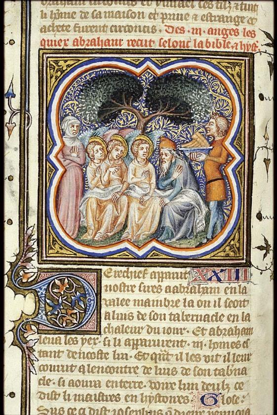 La visite des trois anges; illustrateur de la Bible historiale; 1372 manuscrit Bibliothèque Nationale, La Haye
