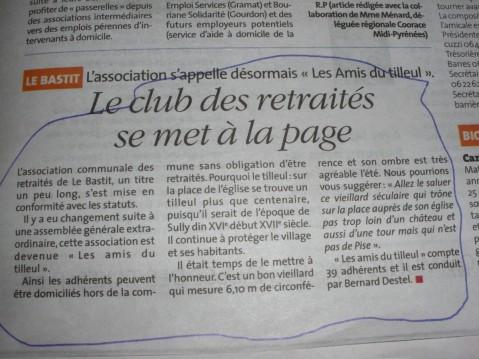 Tilleul Le Bastit - article de presse