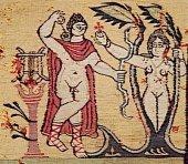 Art copte, Antinoé,  le châle de Sabine, tenture, détail, Apollon et Daphné