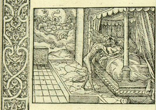 Cérés envoie la Faim affamer Erysichthon (Métamorphose Lyon 1557) B Salomon