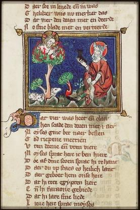 Moise et le buisson ardent Michiel - enluminure sur vélin extrait de  Jacob van Maerlant's Rhimebible of Utrecht Museum Meermanno Westreenianum La Haye