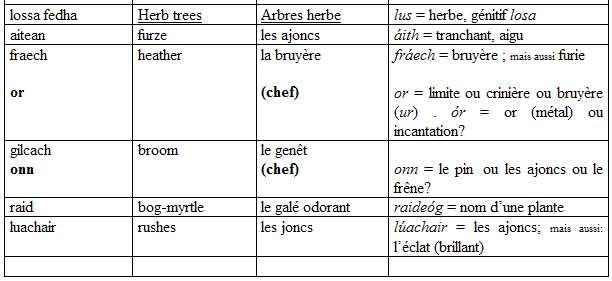Noms d\'arbres dans l\'Auraicept | Krapo arboricole