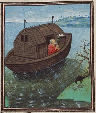 Le Corbeau Noah-sends-off-a-dove-from-the-ark-jean-dreux-1460