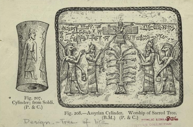 Assyrian cylinder - worship of sacred tree