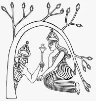 Déesse Inanna accueille un dieu couronné qui émerge de la base d'un arbre - Sceau cylindre mésopotamie - 2320-2150 avant notre ère