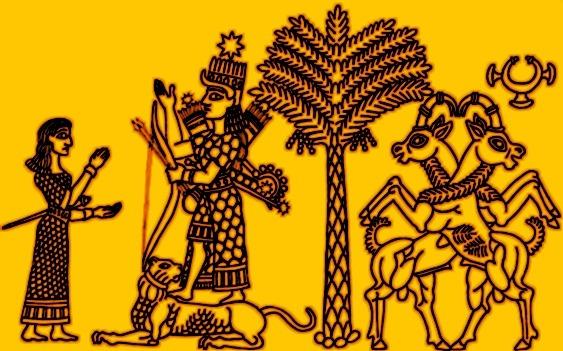 Inanna chevauchant un lion - arbre de vie - sceau cylindre Mésopotamie - 2350 avant notre ére