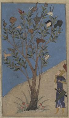 Arbre de la Lune et du Soleil - Shah nameh %0ATimurid: Shiraz, c.1430 - %0APatron: Ebrahim Soltan b. Shah Rokh%0AIlluminator: Nasr al-Soltani - Oxford, Bodleian Library, MS Ouseley Add. 176, fol. 311v