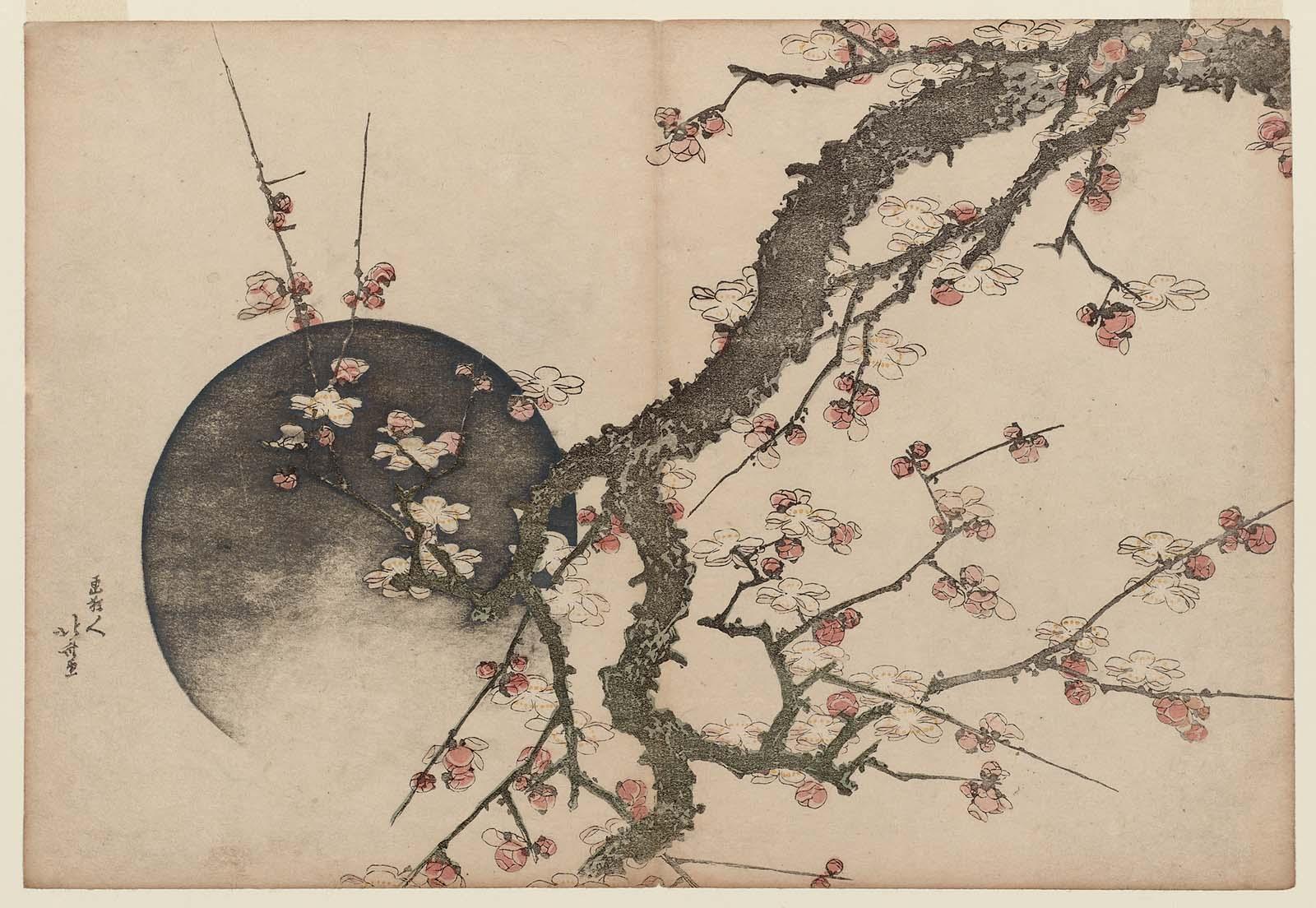 Plum Blossoms and Moon Hokusai