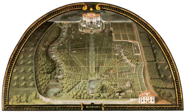 Vue aérienne de 1598 de la moitié sud de la propriété di Pratolino
