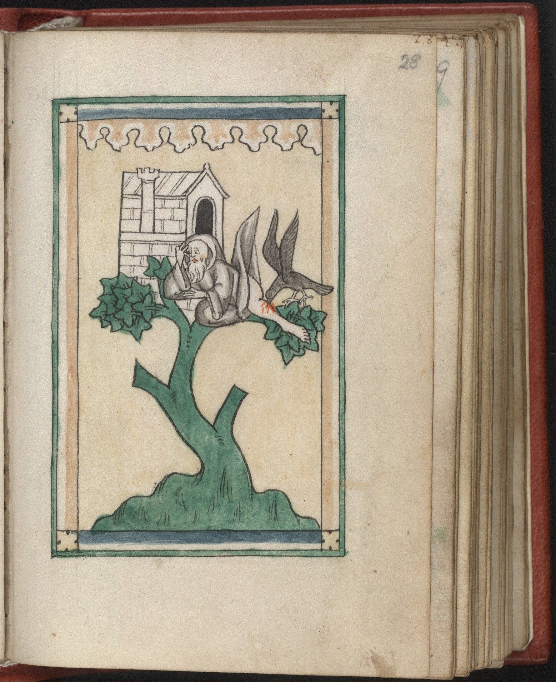 Rotschild Canticles folio 28r - hermit in a tree